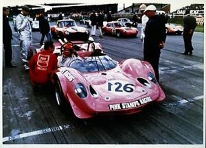 Pink Stamps Lotus 30 at Silverstone, 1970